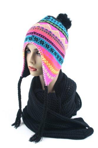 Women's Knit Peruvian Trapper Knit Winter Ear Flap Hat P211 (Black/Blue)