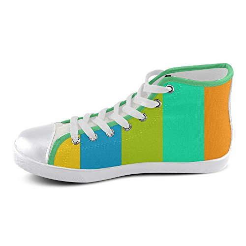 Artsadd Artsdd Custom Day At The Beach (Green Piping) High Top Canvas Shoes For Women(Model002) 1DBzf