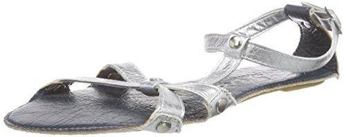 Lise Lindvig Fia - Sandalias de Talón Abierto Mujer Varios Colores - Mehrfarbig (Silver/blue)