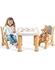 Costzon Kids Table and Chair Set, 3-Piece Toddler Activity Table and Chairs with Storage Drawer, Height Adjustable Chair, Children Desk Furniture Set for Drawing Reading Snack Time Art Craft (Natural)