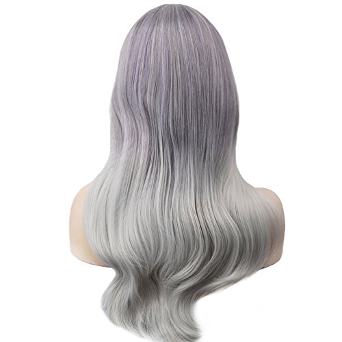 BERON Long Wavy Dark Roots Ombre Silvery Grey Wigs with Bangs