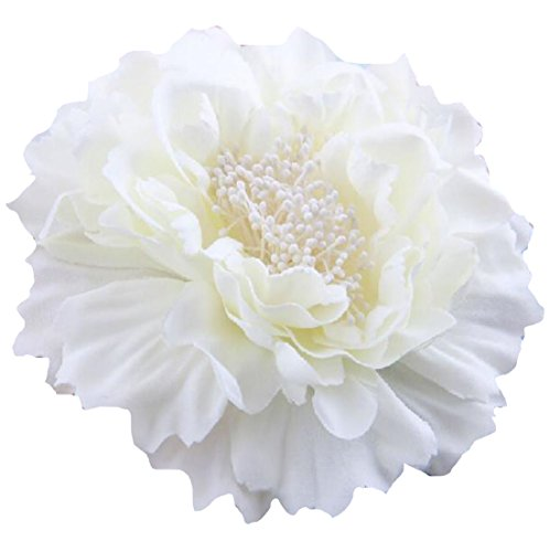 HC-01 Floral Fall Peony Flower Hair Clip Flamenco Dancer Pin up Flower Brooch (White) ()