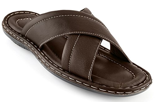 Men's Open Toe Sandals Top Grain Leather Soft Cushion Footbed Elegant X Design Brown (Size 12/45)