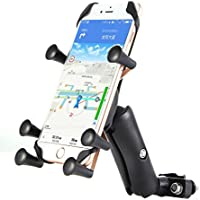Motorcycle Cell Phone Mount - Heavy Duty Side Mirror & Handlebar Cradle Holder For - iPhone 7, Samsung Galaxy Note 5, Or Any Smartphone & GPS - For Safe Phone Use While On The Road