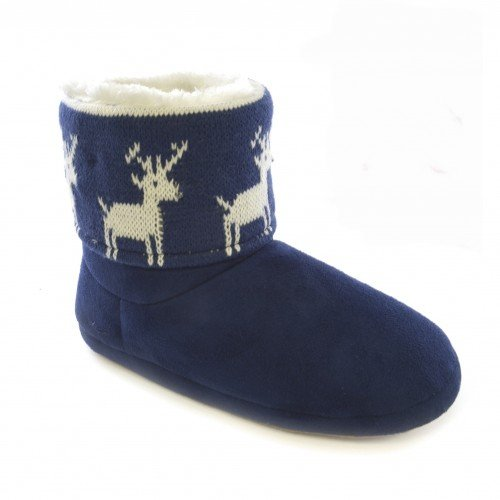 Dames / Dames Kerstontwerp Light Up Slipper Boots Blauw (rendier)