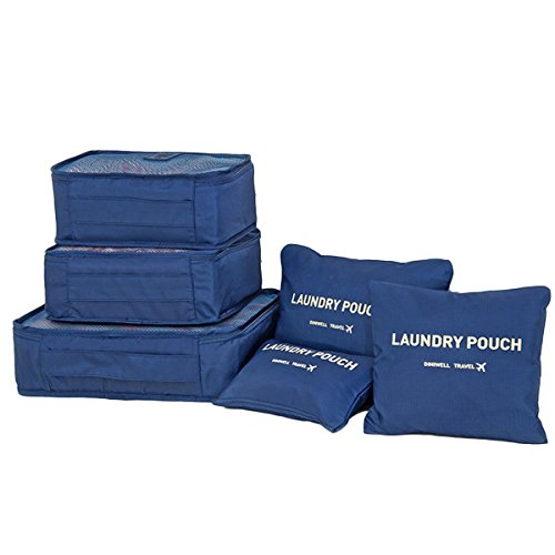 PackNBUY NAVY BLUE 6 set Packing Cubes Travel Organizer with Waterproof Laundry Pouch Bag