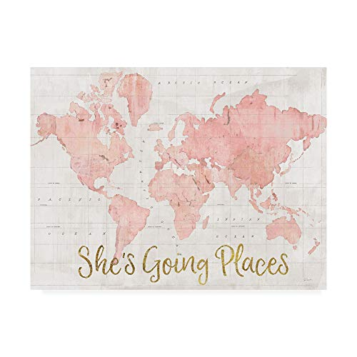 Trademark Fine Art Across The World Shes Going Places Pink by Sue Schlabach, 14x19 (Map Gold Canvas)