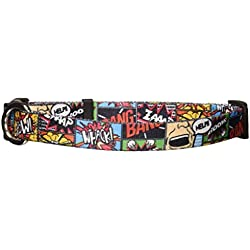 """Yellow Dog Design Vintage Comics Dog Collar with Tag-A-Long ID Tag System-Medium-3/4 Neck 14 to 20""""/4"""""""