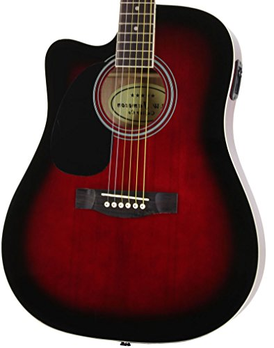Jameson Guitars DRN979CTV LH RDS CSE Red Left Handed Full Size Thin line Acoustic Electric Guitar with Free Gig Bag Case & Picks