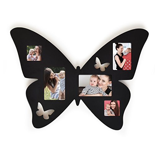 Asense Black Wood 4 by 6 inch Butterfly Collage Picture Photo Frame Wall (Butterfly Collage)