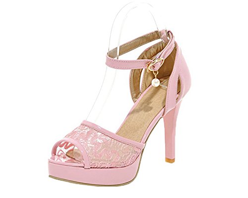 (AmoonyFashion Women's Blend Materials Buckle Open-Toe High-Heels Solid Sandals, BUTLT006689, Pink,)