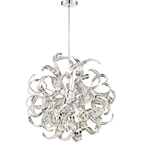 (Quoizel RBN2823CRC Ribbons Curved Metal Foyer Pendant Ceiling Lighting, 12-Light, Xenon 480 Watts, Crystal Chrome (23