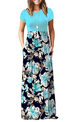 AUSELILY Women Short Sleeve Loose Plain Casual Long Maxi Dresses with Pockets (S, Light Blue)
