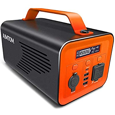 AIMTOM 230Wh 62400mAh Portable Power Station Solar Rechargeable Generator w/ 110V 200W AC Inverter, 12V DC Car, Type-C PD, 3 USB Outputs Pure Sine Wave Lithium Battery Emergency Backup Power Supply