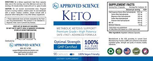 Approved Science® Keto: Pure Exogenous 4 Ketone Salts (Calcium, Sodium, Magnesium and Potassium) and MCT Oil to Boost Ketosis and Burn Fat. 3 Bottles by Approved Science (Image #1)
