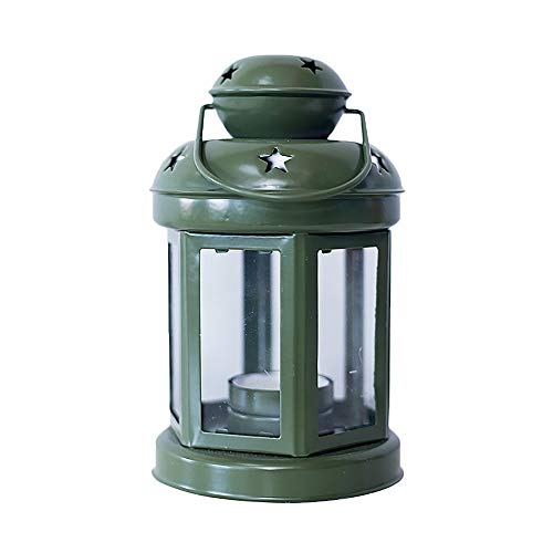 Maikouhai Christmas European Wrought Iron Windproof Lamp Candle Decorative Candlestick for Supermarket Windows, Christmas Trees, Office Decoration - 8.46x3.93 Inch (Green)