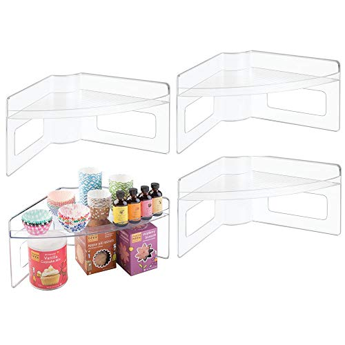 mDesign Plastic Kitchen Cabinet Lazy Susan Food Storage Organizer Raised Shelf Tray - 2 Tier, Pie-Shaped, 1/4 Wedge, Organize Soup Cans, Pasta, Tea, Coffee, Spices, Jars, Bottles - 4 Pack - Clear