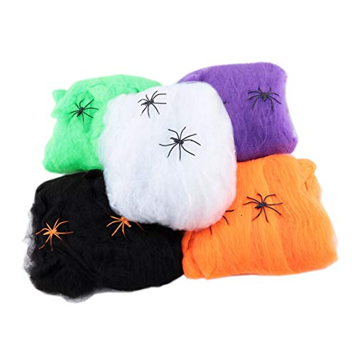 SAIrch 5pcs Artificial Spider Web, Halloween Stretchable Indoor