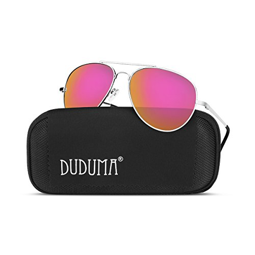 Duduma Premium Full Mirrored Aviator Sunglasses w/ Flash Mirror Lens Uv400 (Silver frame/Pink mirror - Silver Flash Lenses