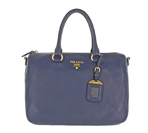Prada Bauletto Women's Navy Baltico Vitello Phenix Handbag 1BB023