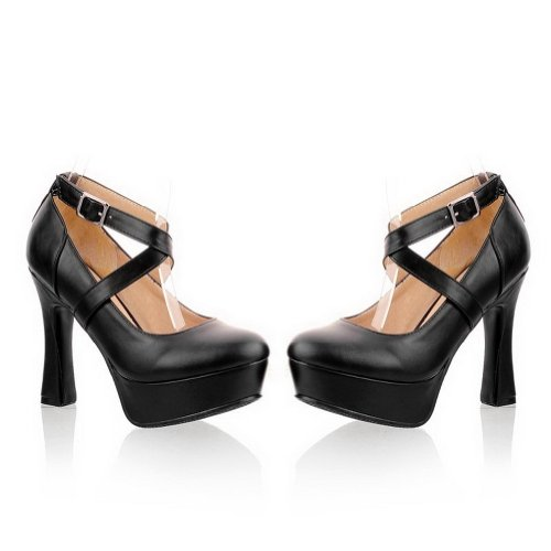 VogueZone009 Womans Closed Round Toe High Heel PU Soft Material Solid Pumps with Bandage, Black, 3 UK