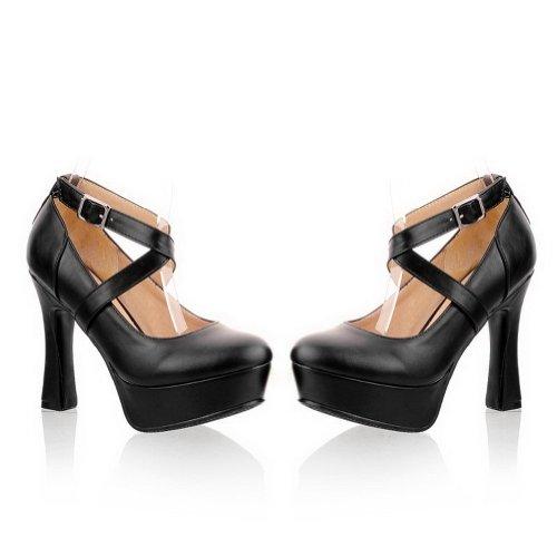 Closed High Unido Heel Toe 4 vendaje Reino Bombas suave VogueZone009 PU 5 sólidas con Womans Material Negro q5wxaICt