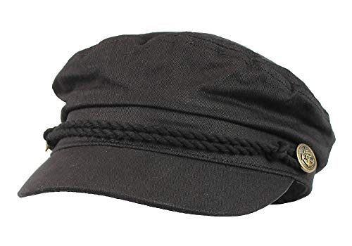 Black 100% Cotton Cabbie Greek Fisherman Hat w/Braid - Newsboy Ivy - Hat Braid