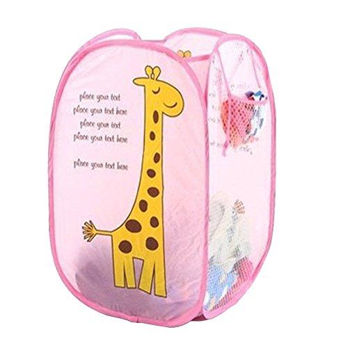 Mwfus Pop-up Foldable Hollow Net Mesh Clothes Laundry Basket Storage Bag Hamper Pounch Giraffe
