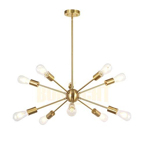 BONLICHT Sputnik Chandelier 10 Light Brushed Brass Modern Pendant Lighting Gold Industrial Vintage Ceiling Light Fixture UL Listed