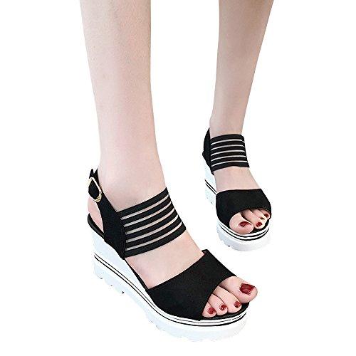 Zeppa Piattaforma Estivi scarpe Tacco Fibbia Cintura Sandali Toe Impermeabile Parola 35 Donna Nero Ginli Sandali 39 Bassi Con Da Alto Scarpe Femminile E Open w06q8Xv5