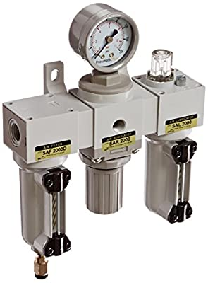 "PneumaticPlus SAU2000M-N02DG-MEP Mini Three-Unit Combo Compressed Air Filter Regulator Lubricator FRL, Air Preparation Unit 1/4"" NPT - Metal Bowl, Auto Drain, Gauge"