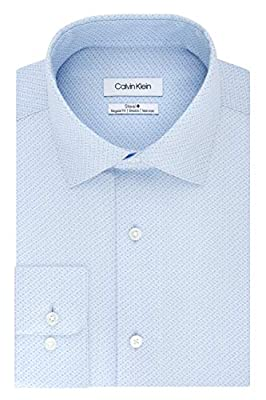 Calvin Klein Men's Dress Shirts Non Iron Regular Fit Stretch Print