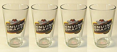 - Set of 4 Miller Genuine Draft Pint Beer Glasses