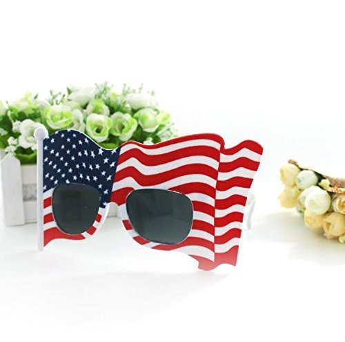 83d7478348d8 Amazon.com  American Flag Sunglasses USA Patriotic Design Plastic Glasses  Shades Sunglasses Eyewear for 4th of July Party Props  Toys   Games