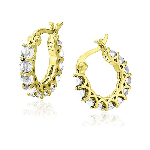 Yellow Gold Flashed Sterling Silver Swarovski CZ Cubic Zirconia Round Huggie Hoop Earrings, 18mm