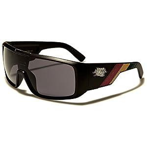 Locs Retro Square Shield Rasta Stripes Sunglasses (Matte Black Frame, Black)