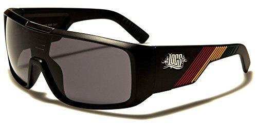 Locs Retro Square Shield Rasta Stripes Sunglasses (Matte Black Frame, - Shades Rasta