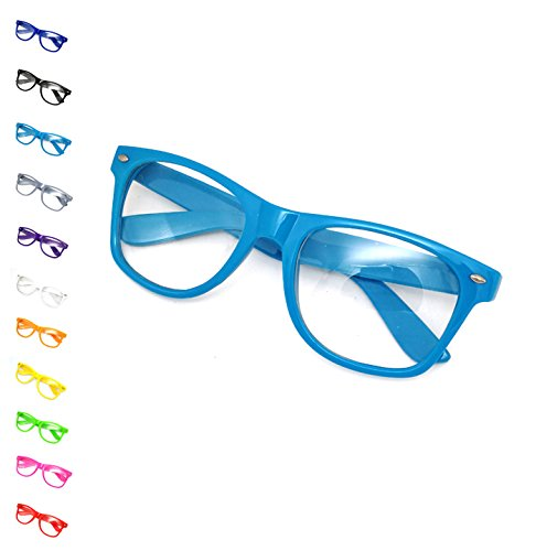Costume Nerd Glasses - 11 Colors Men, Women, Children #1 Glasses US of OMG, Light Blue