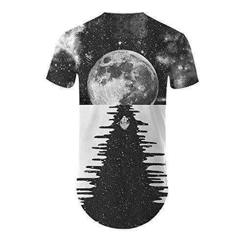 Men's Fashion 3D Printing T Shirt Short Sleeve Tops Casual Open Shirts -