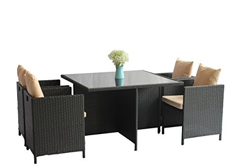 UNITED FLAME 5PCS WICKER RATTAN OUTDOOR INDOOR GARDEN PATIO CONSERVATORY BISTRO FURNITURE CUBE DINING SET-CUBE-5 RATTAN DINING SET/ONE TABLE+FOUR CHAIRS (Furniture Dining Rattan Cube)
