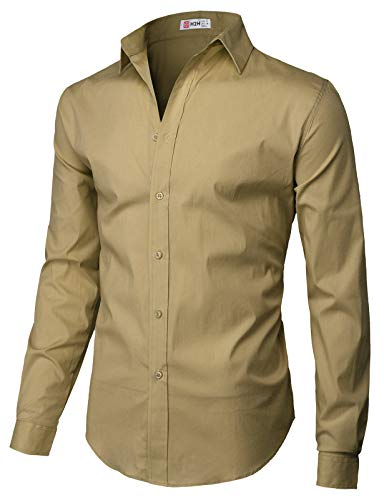 (H2H Mens Casual Slim Fit Button Down Spandex Premium Long Sleeve Shirts Beige US XL/Asia 2XL)