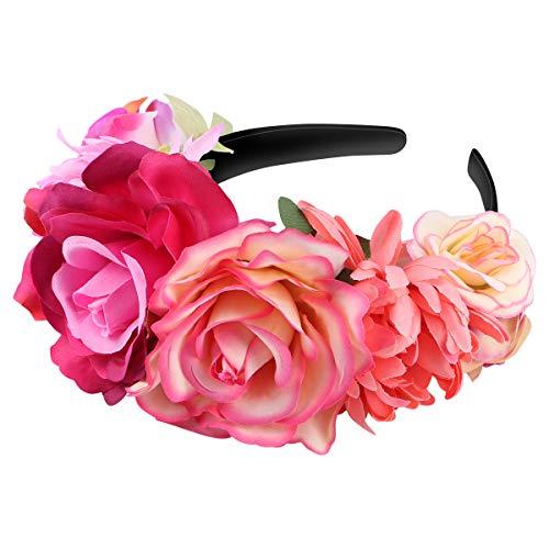 Amosfun Mexican Flower Headband Rose Flower Crown Wedding Headband Headdress for Halloween Masquerade Party Cosplay Headdress -