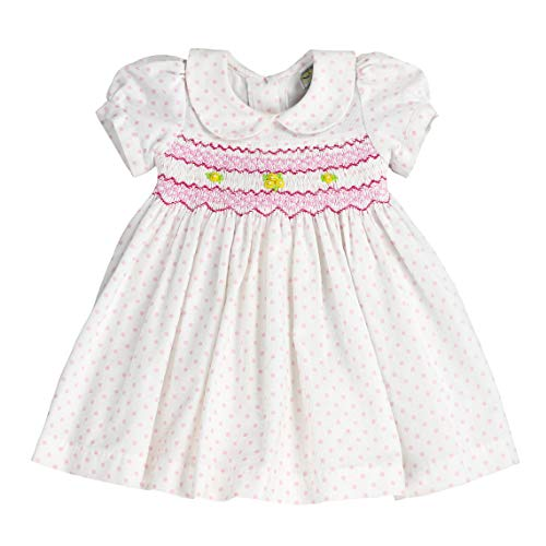 sissymini - Infant and Toddler Julia Rose Soft Corduroy Hand Smocked Dress | Pearl White with Pink Polka Dots -