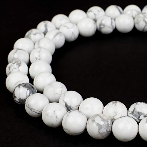 RVG 8mm Natural White Howlite Beads Marble Round Gemstone Loose Stone Mala 15.5 in Strand for Jewelry Making (Approx 45-48 pcs)