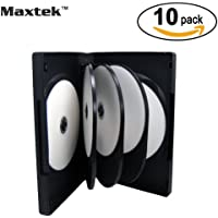 Maxtek Black 8 Disc DVD Cases with 3 Flip Trays and Outter Clear Sleeve, 10 Pack