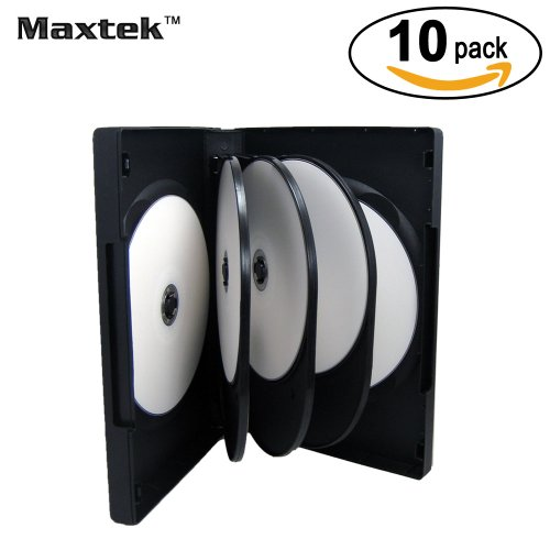 Maxtek Black 8 Disc DVD Cases with 3 Flip Trays and Outter Clear Sleeve, 10 - 10 Disc Black Dvd Cases