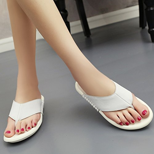 Antislittamento Pantofole Piatto Pantofole Pantofole Dal Fondo Qingchunhuangtang Con Per Bianco Sandali Freddo Toe E 76nqF1wB