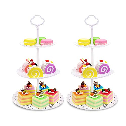Two Pack of Three Tier Cake Stand and Fruit Plate by Imillet - Plastic Stand of White for Cakes Desserts Fruits Dried Fruit Candy Buffet Stand for Wedding & Home & Holiday/Birthday Party (small)