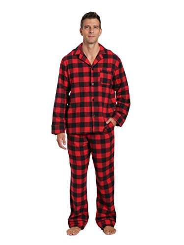Noble Mount Men's Flannel Pajama Set - Gingham Checks - Black-Red - X-Large (Black Flannel Pajama)