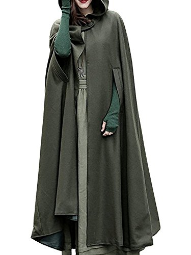 Ruanyu Women's Maxi Hooded Trench Coat Cloak Maxi Cashmere Cape Hooded Cape (Medium, Army Green) (Us Army Cape)